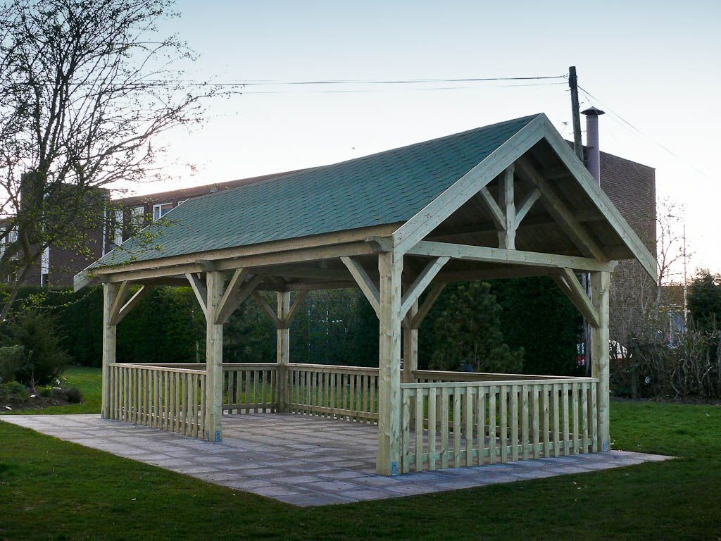 Outdoor shelters used for gazebo made with logs tudor for Average cost to build a pavilion