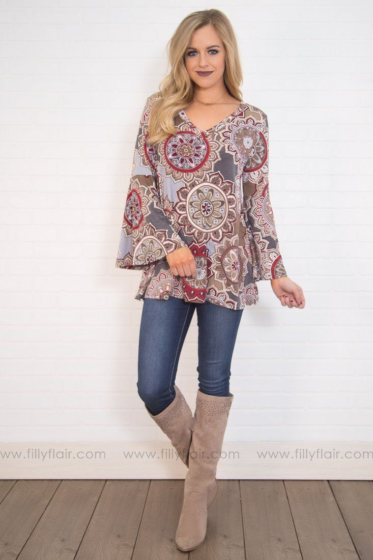 Love affair long bell sleeve top in grey taupe products