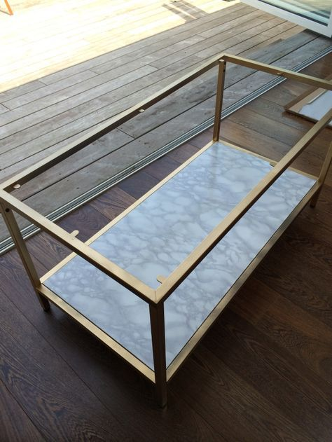 DIY GOLD AND FAUX MARBLE COFFEE TABLE IKEA HACK Deco