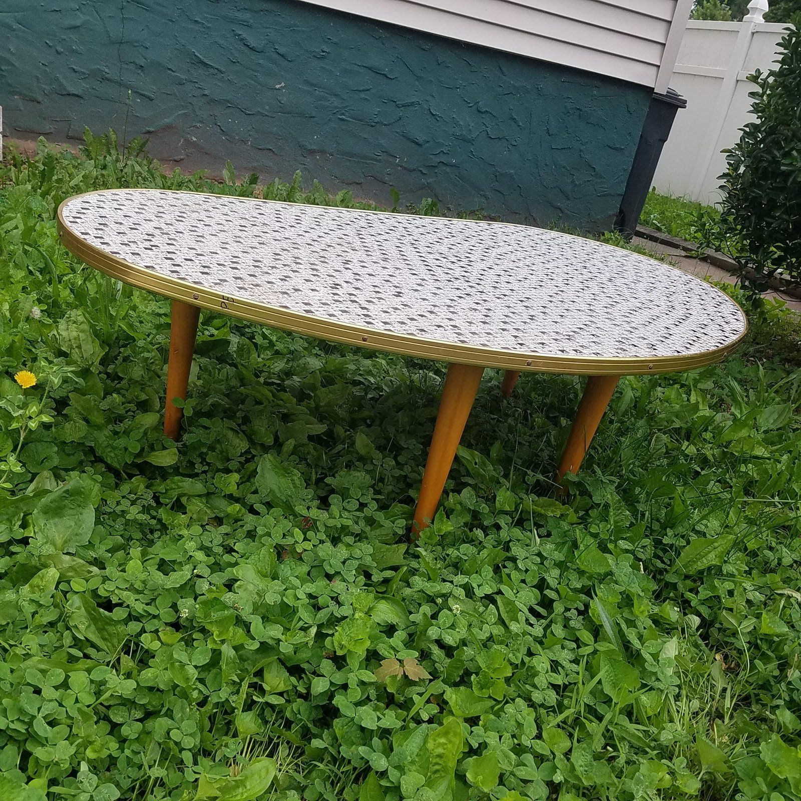Mid Century Modern Kidney Shaped Coffee Table With Small Mosaic