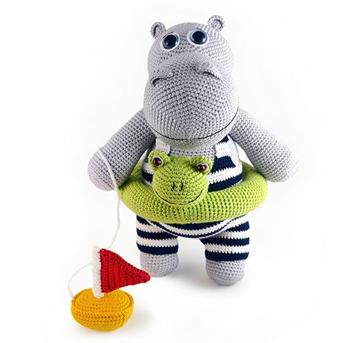 Tiny crochet hippo amigurumi pattern - Amigurumi Today | 500x500