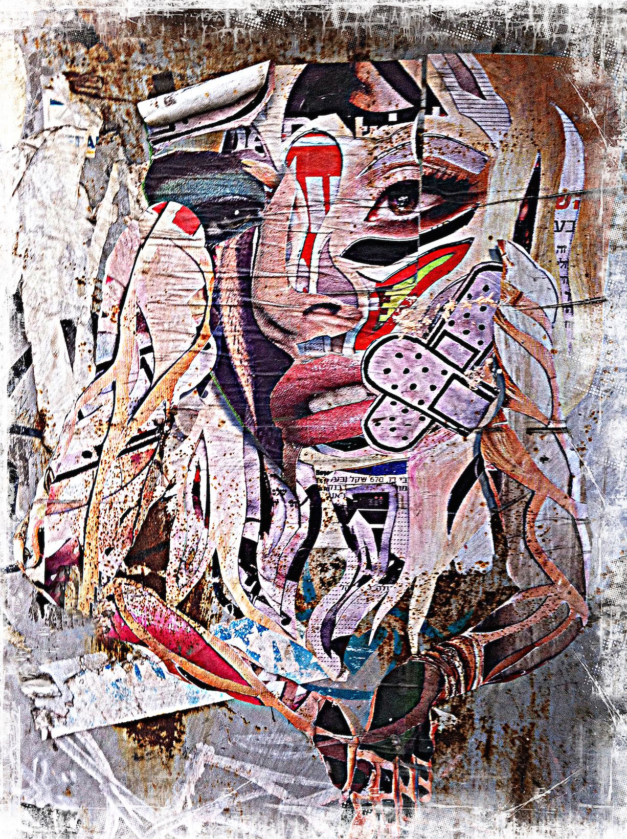 Pink Woman © Daniel Siboni Urban Collage on Wood