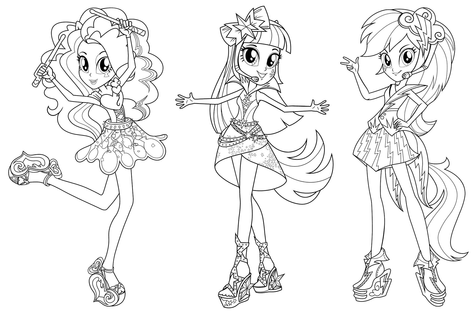 Equestria Girls Coloring Pages My Girl Rainbow Rocks Page Little For Pony Trang To Mau