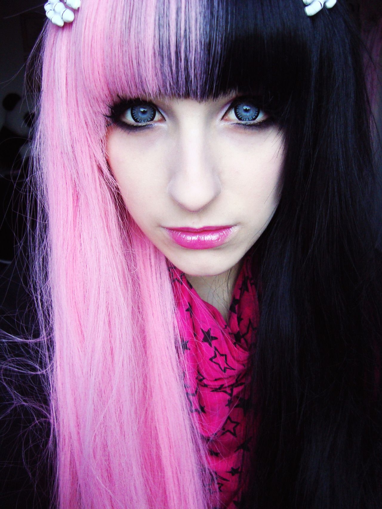 Two Toned Colored Hair: Two Tone Contrast Half Pink Dyed Hair