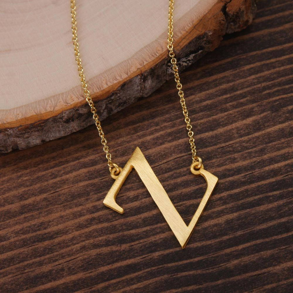 letter chain necklace small length c with chains wish initial pin size