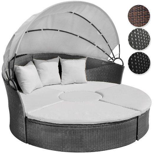 Miadomodo Rtsl03 Rattan Sun Day Bed With Table Black Amazon Co Uk Garden Outdoors Lounge Sofa Garten Gartenmobel Sets Polyrattan Lounges