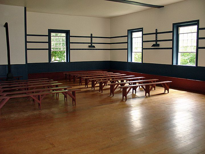Interior of the Meeting House, Shaker Village at Pleasant Hill ...