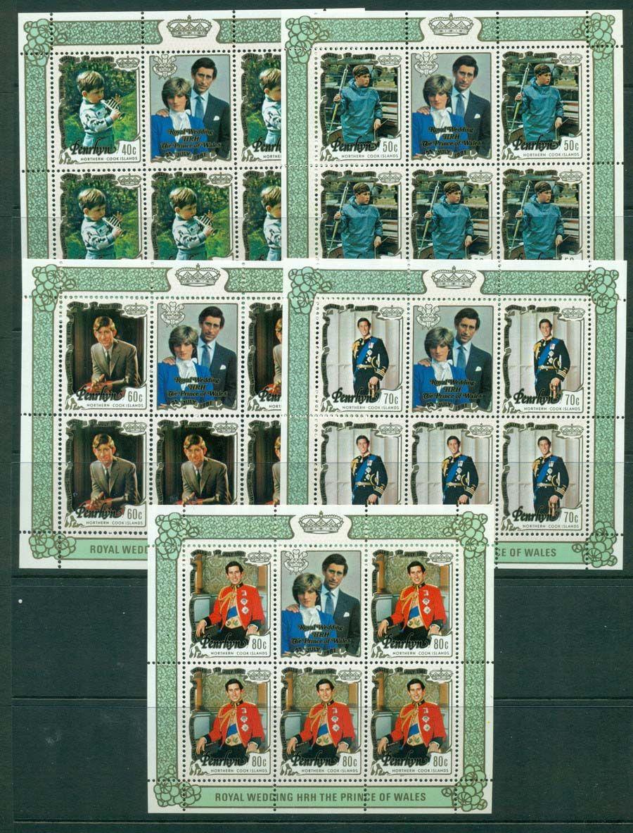 Penrhyn Is 1981 Charles & Diana 5x MS MUH Lot20455 in 2019