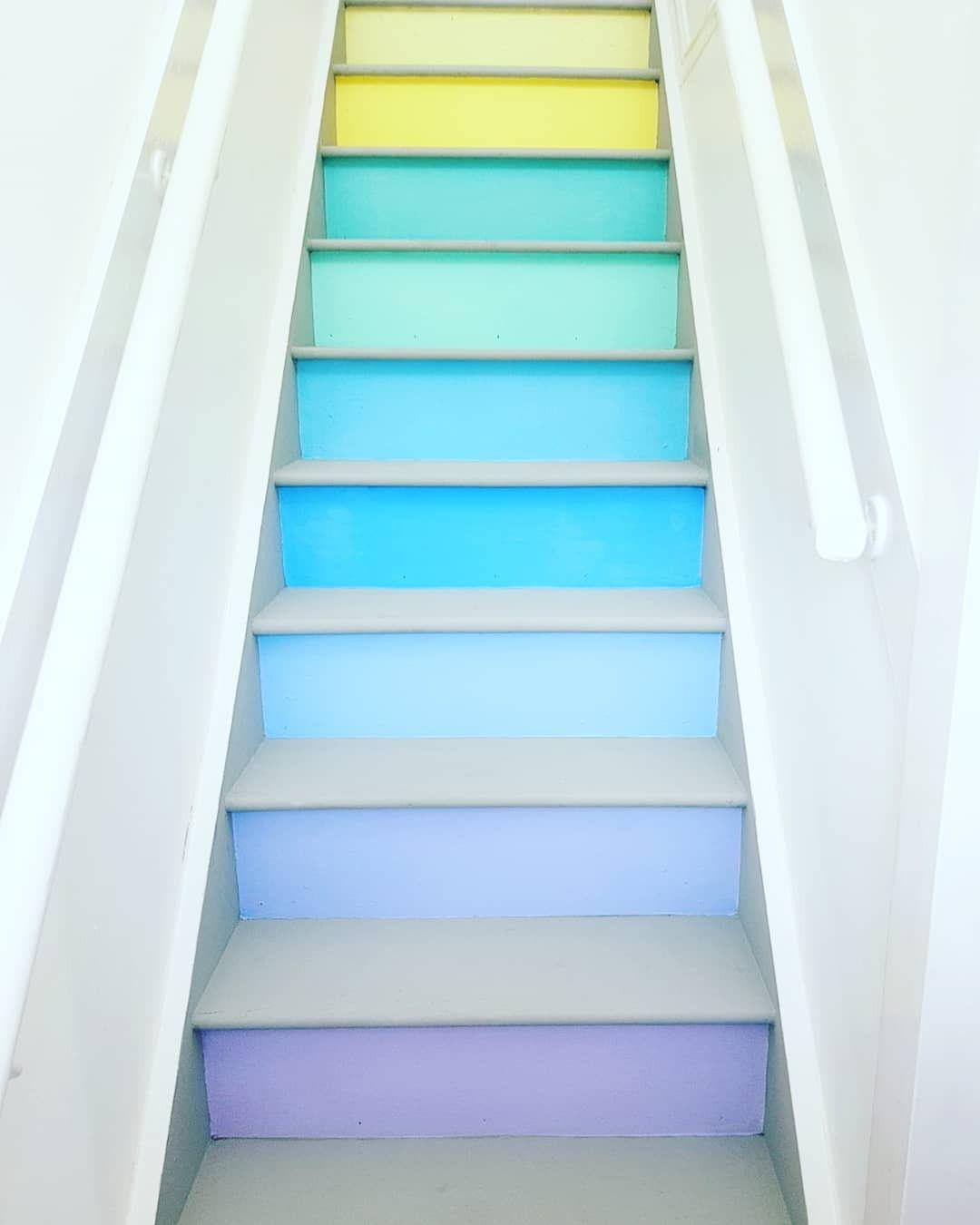 Rainbow Pastel Coloured Stairs #rainbow #rainbowstairs
