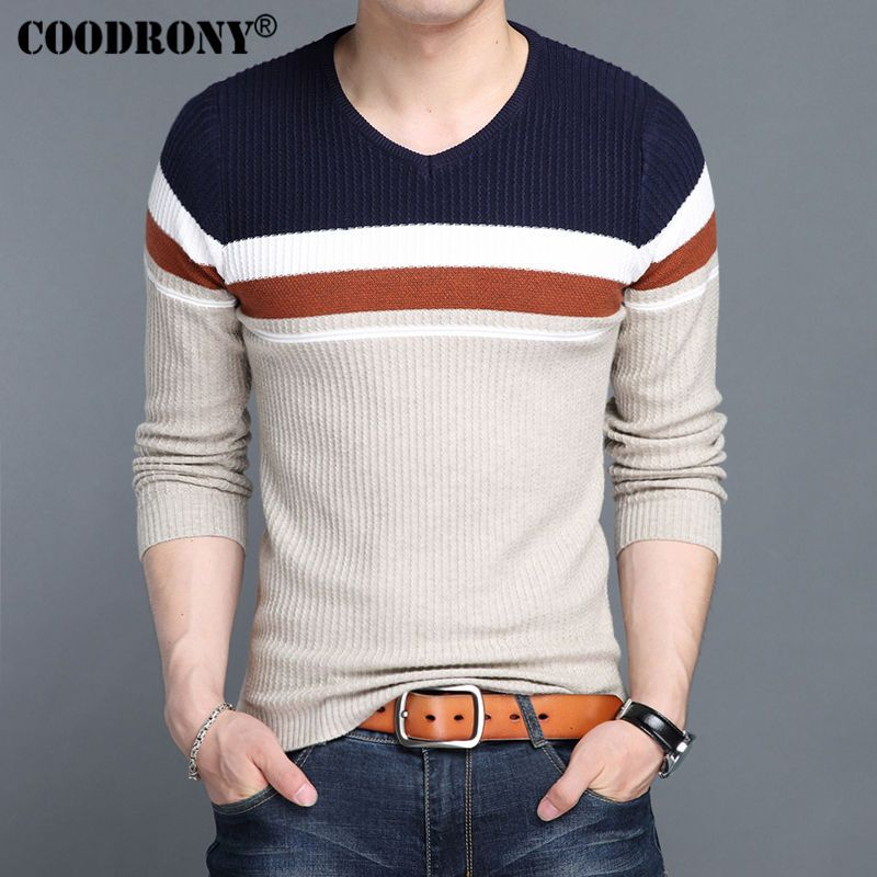 COODRONY Cashmere Sweater Men Knitted Wool Pullover Men 2017 New Mens  V-Neck Sweaters Autumn 1ac327617b