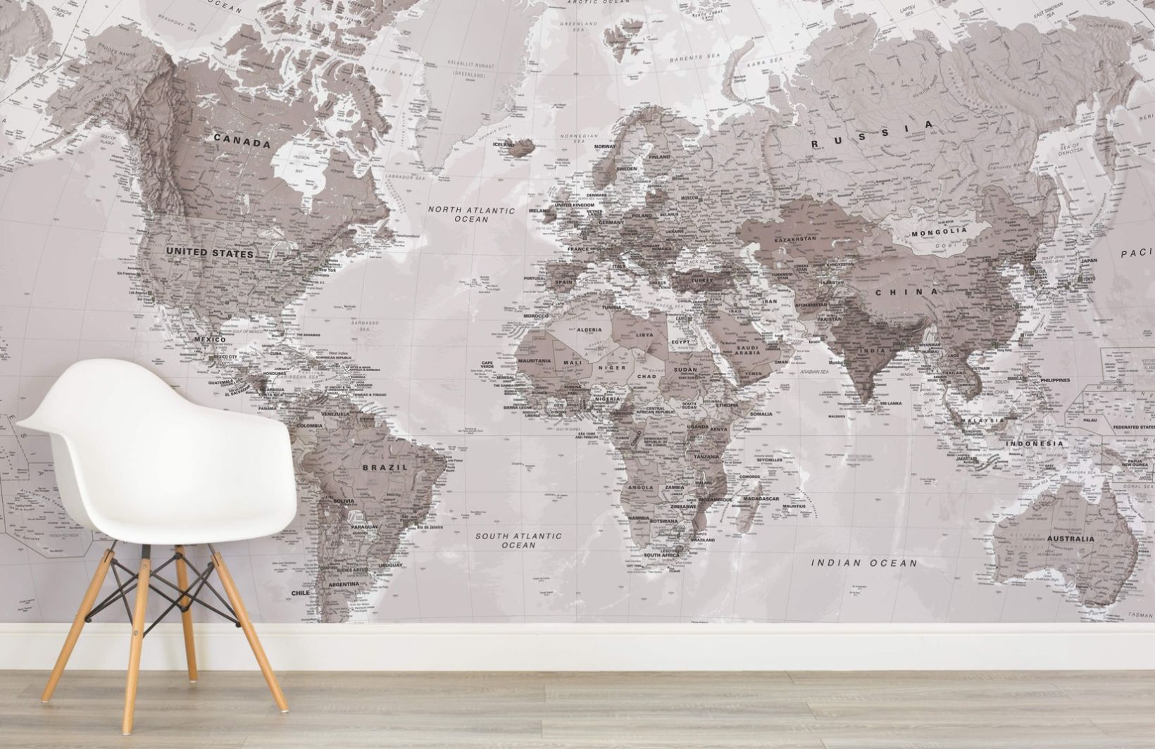 Neutral shades world map wallpaper mural neutral room and wall murals neutral shades world map wallpaper mural murals wallpaper gumiabroncs Choice Image