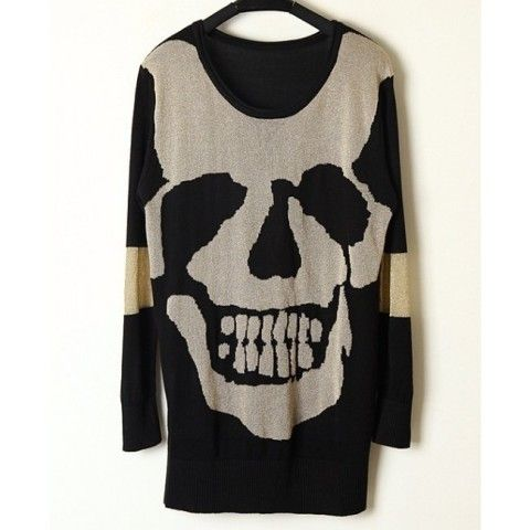Fashion Round Neck Skull Pattern Oversize Sweater - Sweaters - Sweaters & Knits - Clothing - Women's Style Free Shipping