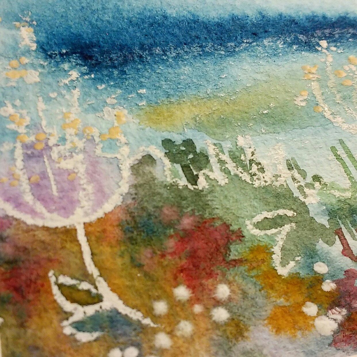 Lots of colours and textures in this abstract watercolour sketch ...