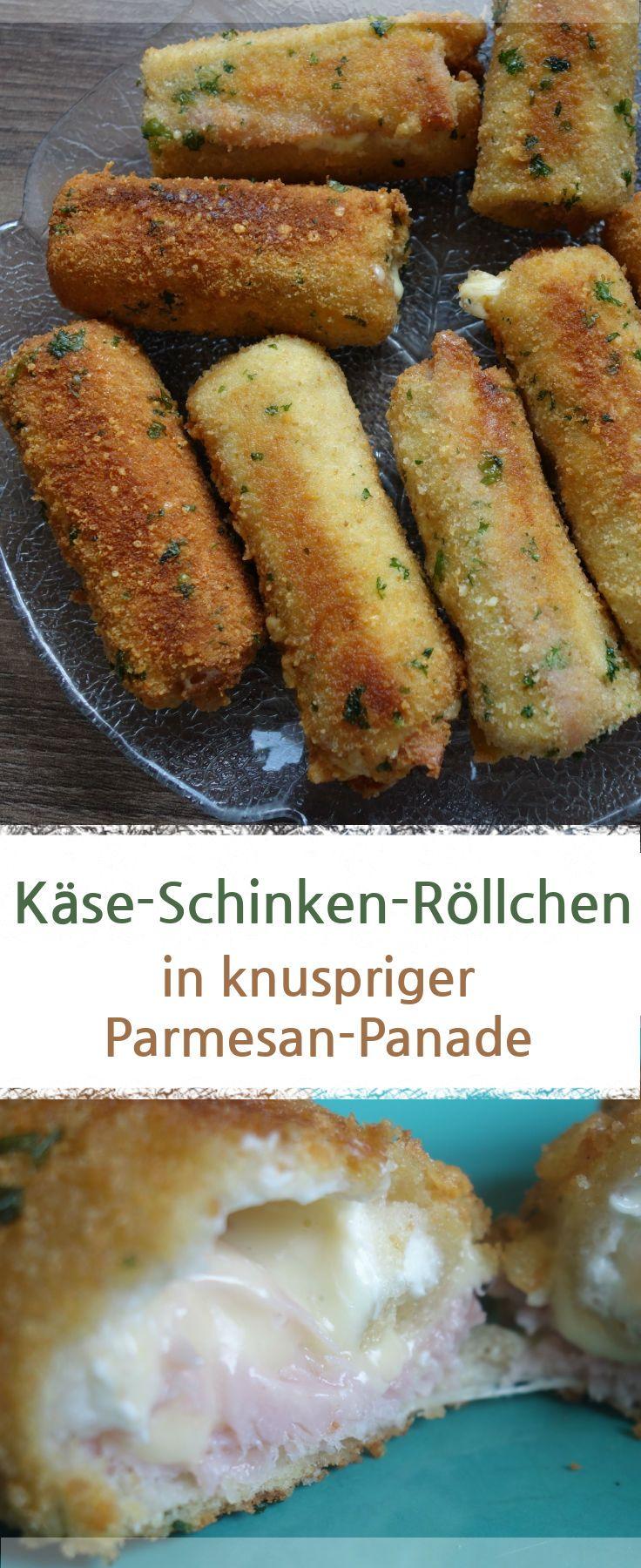 Käse-Schinken-Röllchen mit Toast in knuspriger Parmesan-Panade.  – Meine Stube #käse #fingerfood #parmesan #foodporn