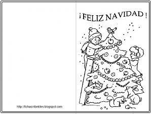 Dibujos Para Tarjetas De Navidad Para Ninos.Postales Navidenas Para Colorear E Imprimir Nocturnar