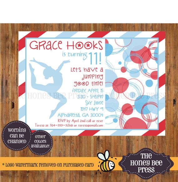 Gymnastics Birthday Invitation - Gymnast Invitation - 6th, 7th, 8th, 9th, 10th, 11th, 12th, 13th Birthday invitation by  The Honey Bee Press