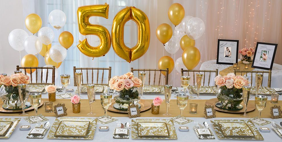 Golden wedding anniversary party supplies offer themed anniversary tableware with matching decorations invitations balloons and party favors. : 50th wedding anniversary tableware - pezcame.com