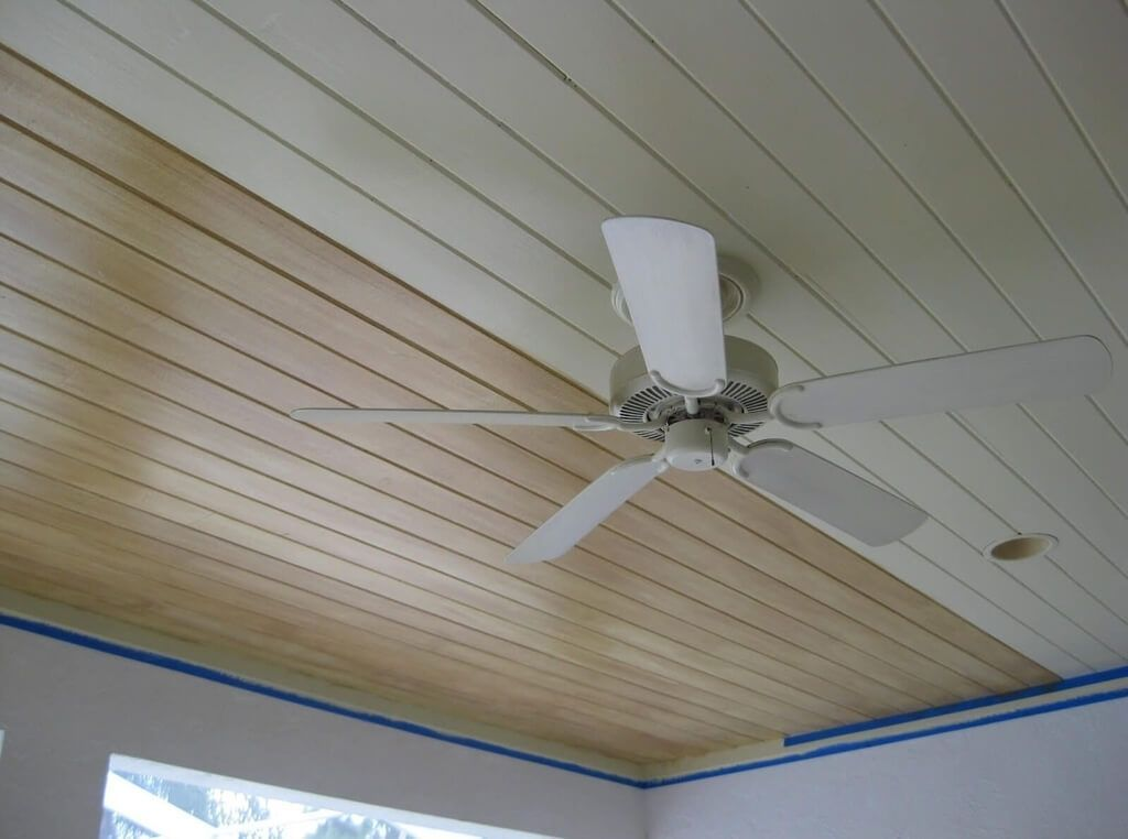 Interior: Beadboard Wood Ceiling Panels With Ceiling Fan ...