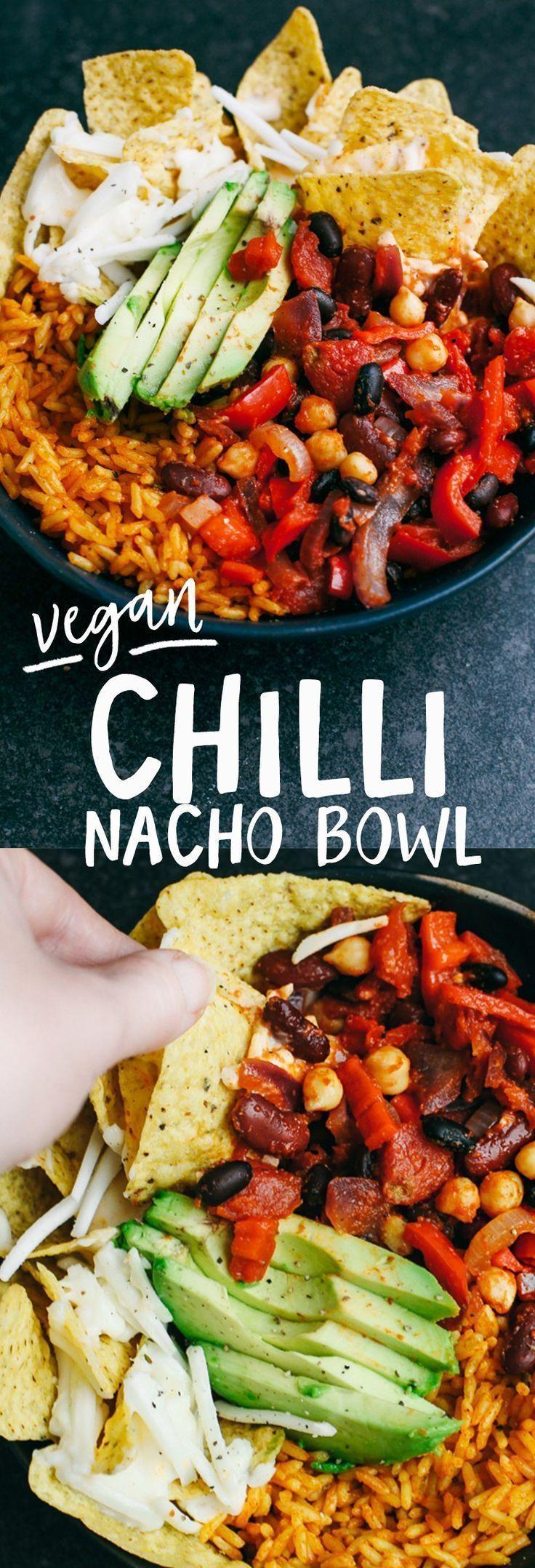 Vegan Bean Chilli Nacho Bowl