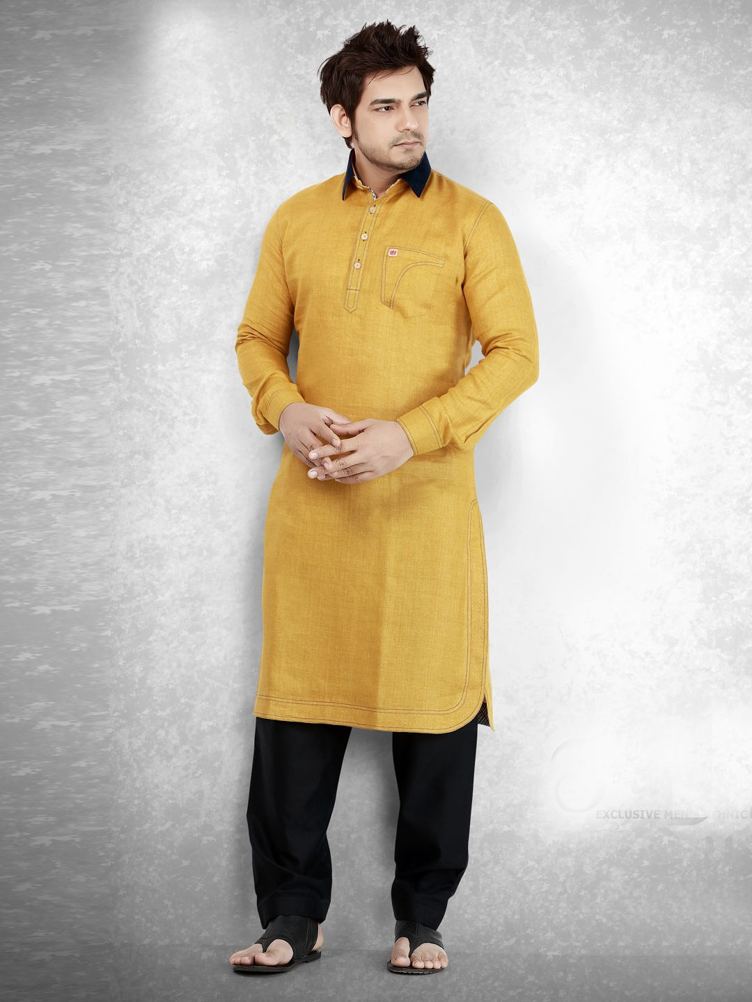 8b5af93265 Cotton Plain Yellow Festive Men Pathani Suit | Churidar | Kurta men ...