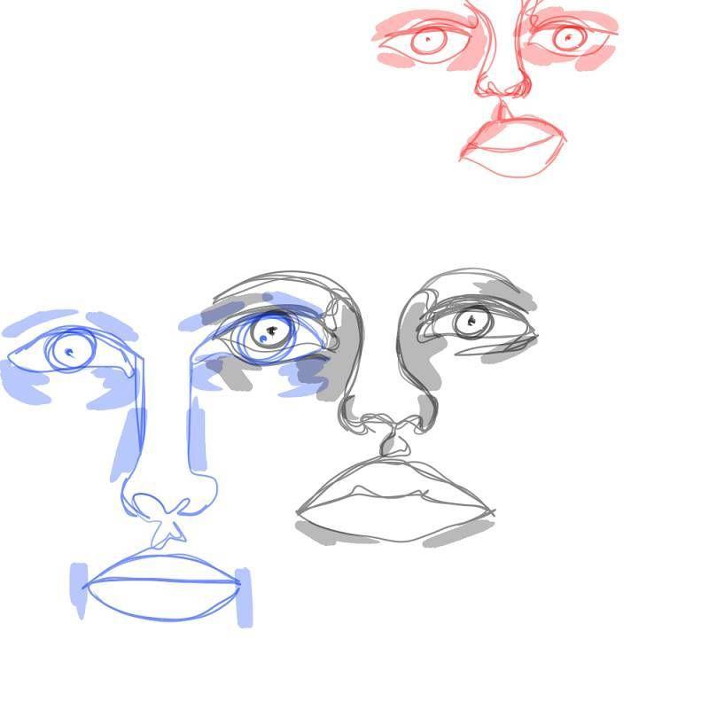 Three Face Digitalpainting Simple Red Blue Black Drawing