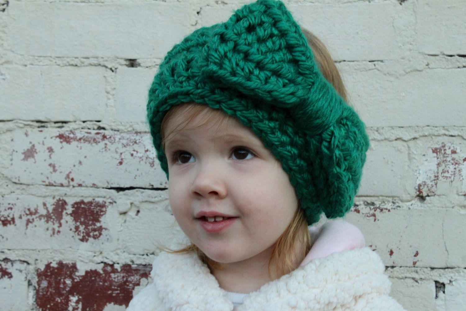 Chunky Crochet Ear Warmer Headband with Large Bow in Emerald Green ...