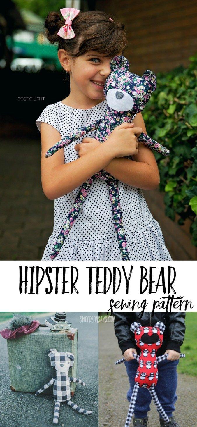 Hipster Teddy Bear PDF Sewing Pattern