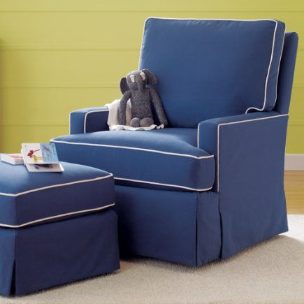 Nursery Gliders Blue And White Trim Mod Nod Swivel Glider Chair Ottoman