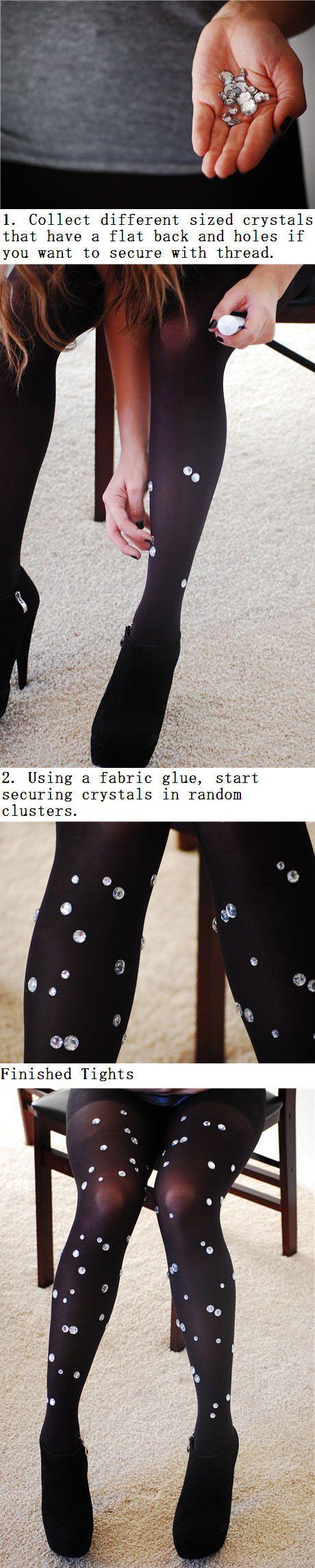 DIY crystal embellished tights.