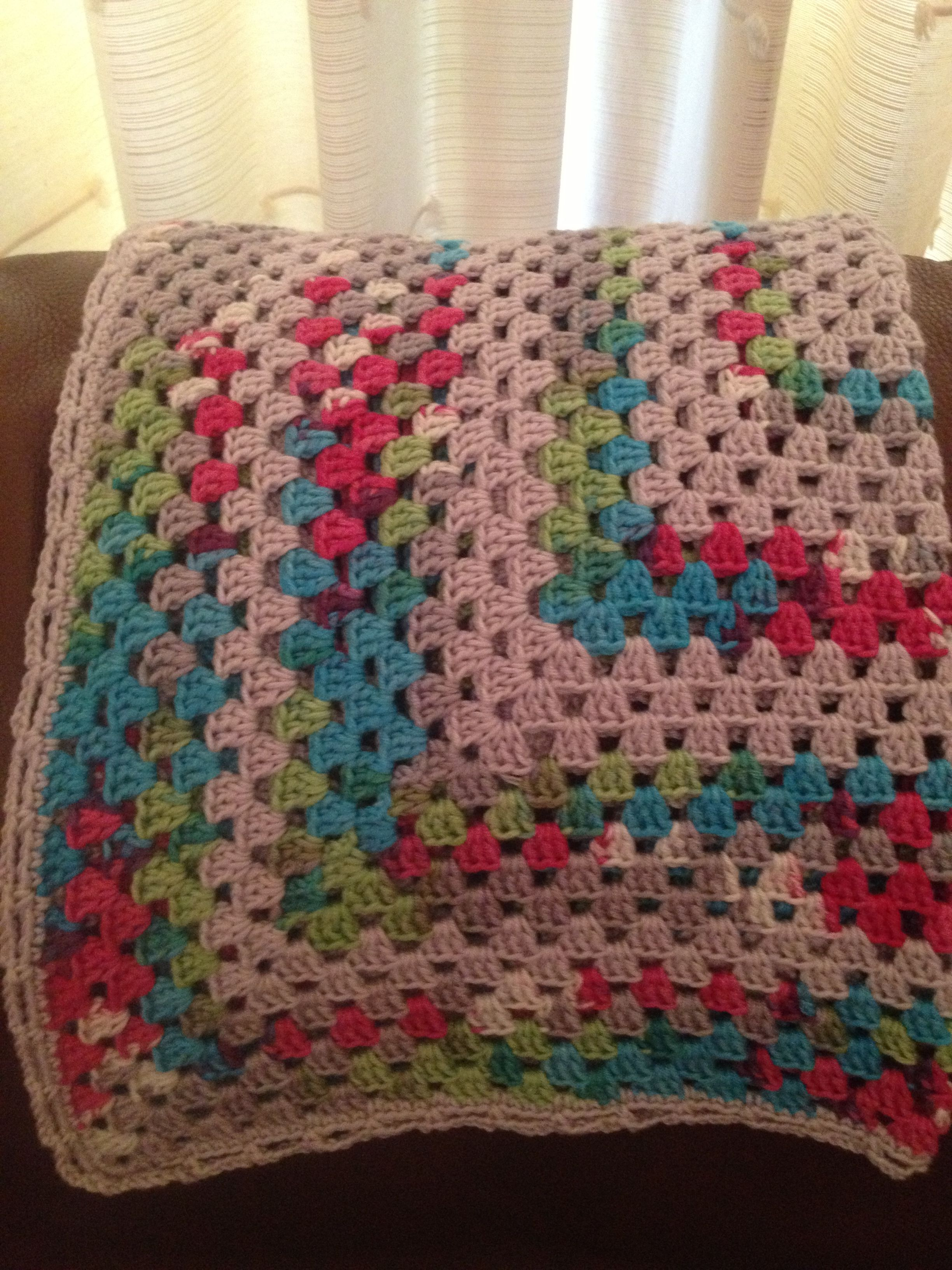 Large granny square blanket in Sirdar Baby Bamboo yarn. So soft to the touch and adorable colours.