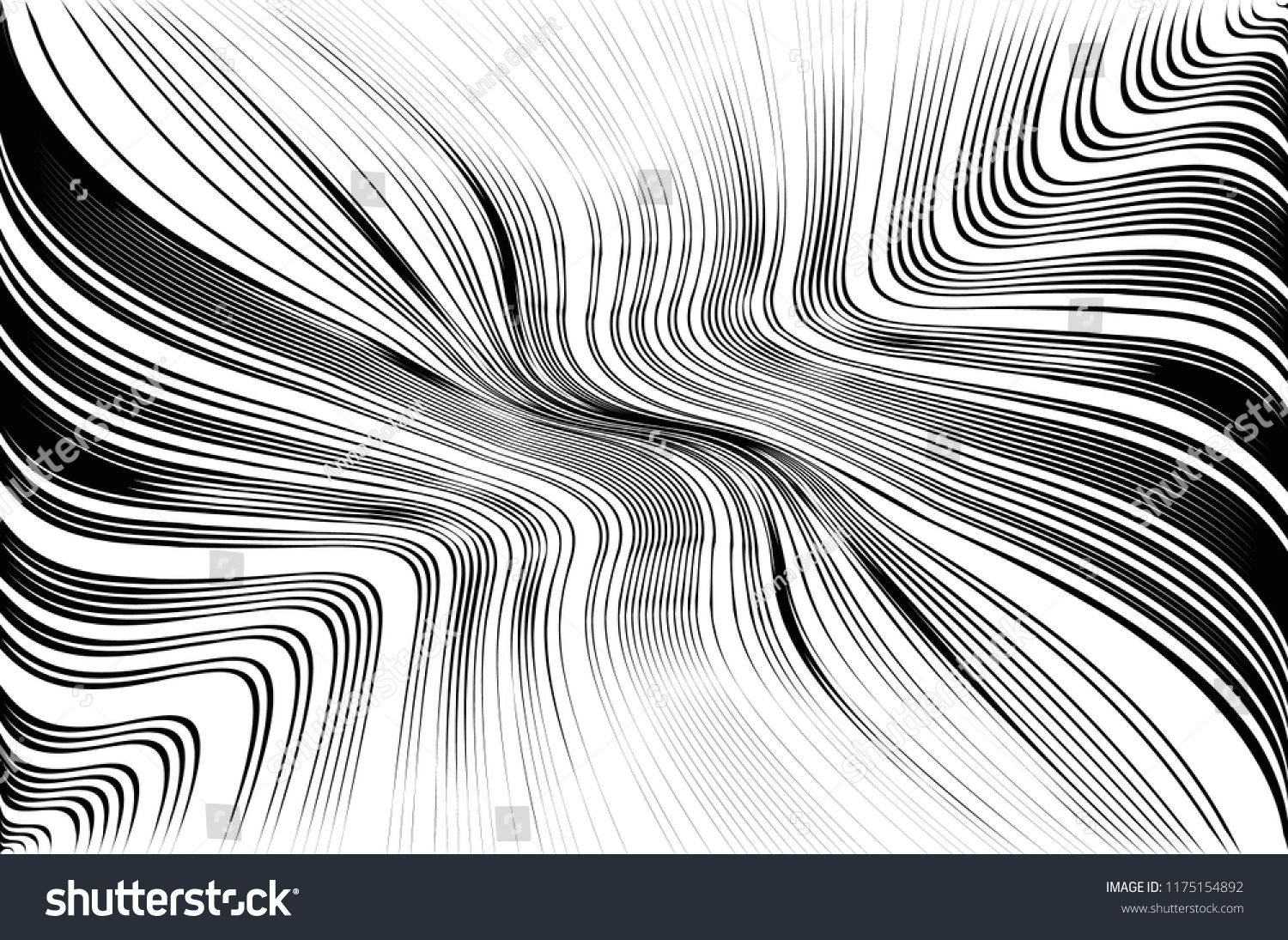 Abstract Pattern Texture With Wavy Curves Lines Optical Art Background Wave Design Black And White Digital Art Background Wave Design Vector Illustration