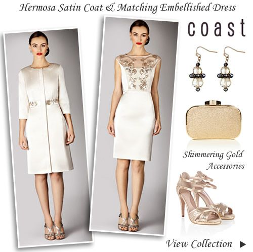 Coast Duchess Satin Dress Coat Autumn Winter Wedding Outfit