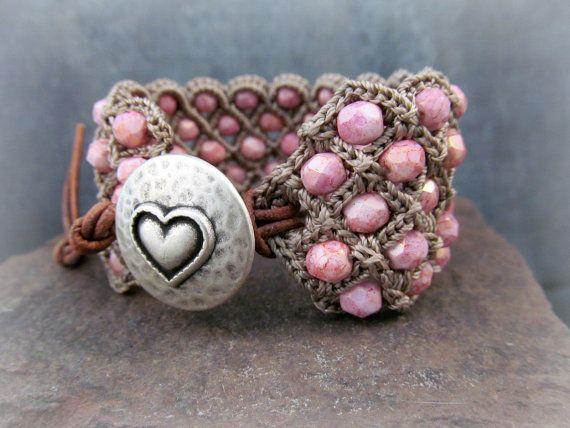 Crochet Pattern - Crochet Cuff Bracelet, Crochet Beaded Jewelry ...