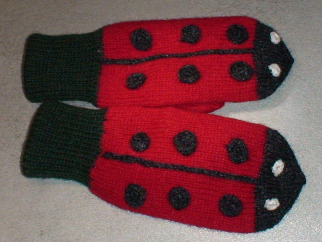 Ladybug mittens for children 5-7Y