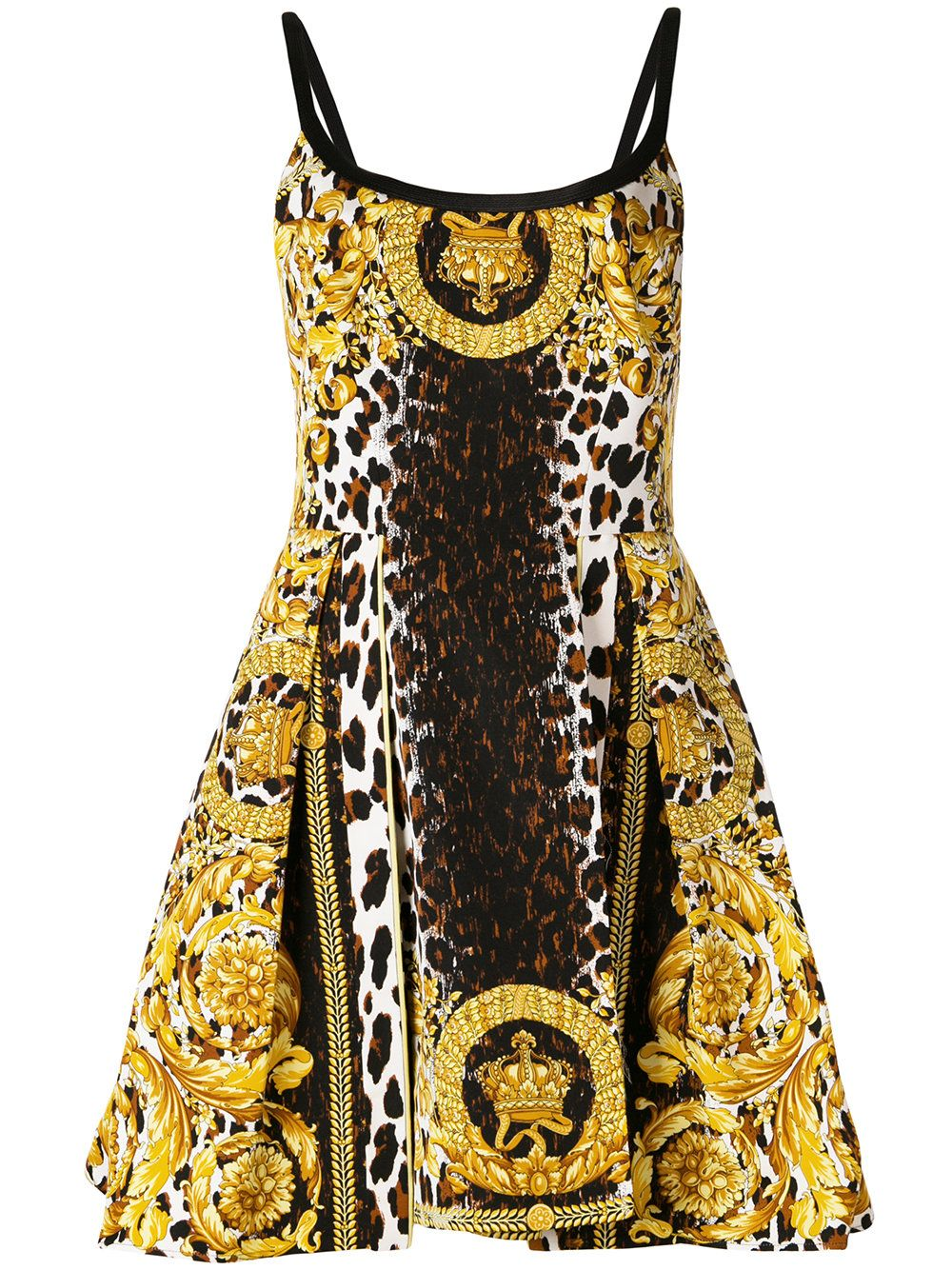 versace leopard and baroque print mini dress | reiseziele in