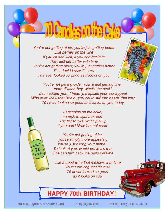 Excellent Lyric Sheet For Original 70Th Birthday Song For A Man Or Woman Funny Birthday Cards Online Alyptdamsfinfo