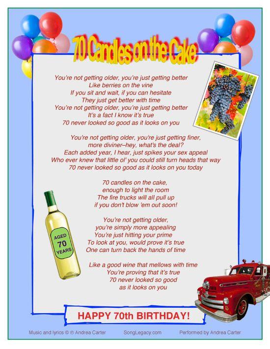 Enjoyable Lyric Sheet For Original 70Th Birthday Song For A Man Or Woman Personalised Birthday Cards Veneteletsinfo