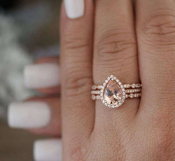 Totally 3 Pieces Bridal Ring Set One Engagement Plus 2 Milgrain Diamond Bands Details 10k Solid Rose Gold Also Can Be Made