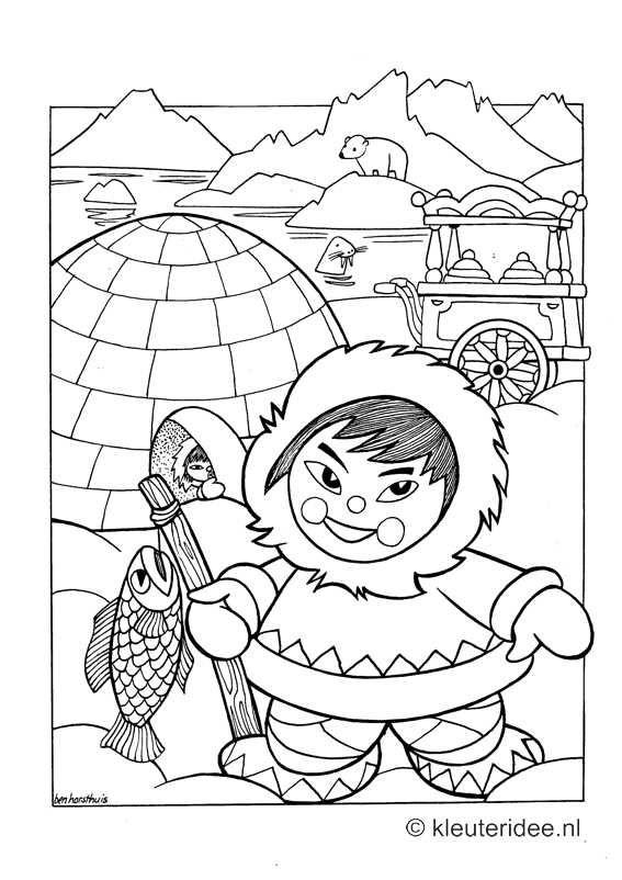 kleurplaat noordpool eskimo iglo kleuteridee nl free