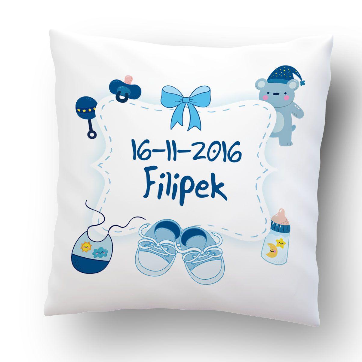 Poduszka Personalizowana Z Okazji Narodzin Dziecka 1 Dla Chlopczyka Z Okazji Narodzin Throw Pillows Pillows I Bed