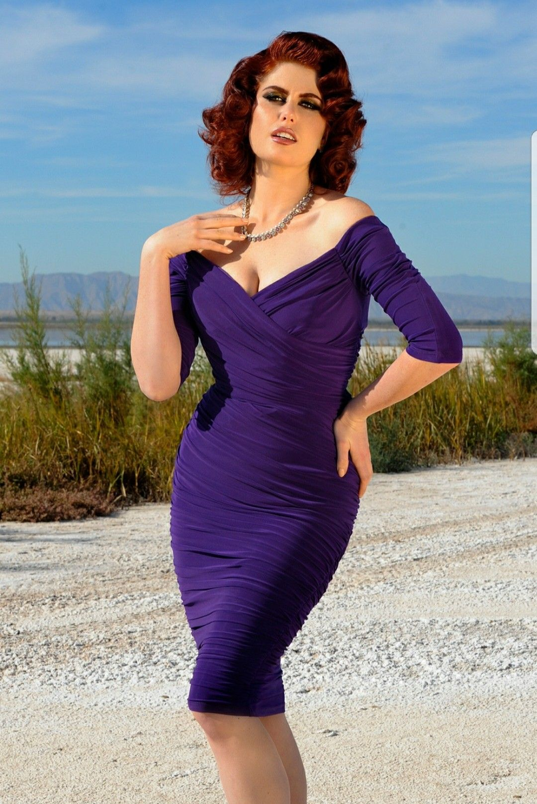 Pin Up Girl clothing MONICA in purple. | wearables | Pinterest