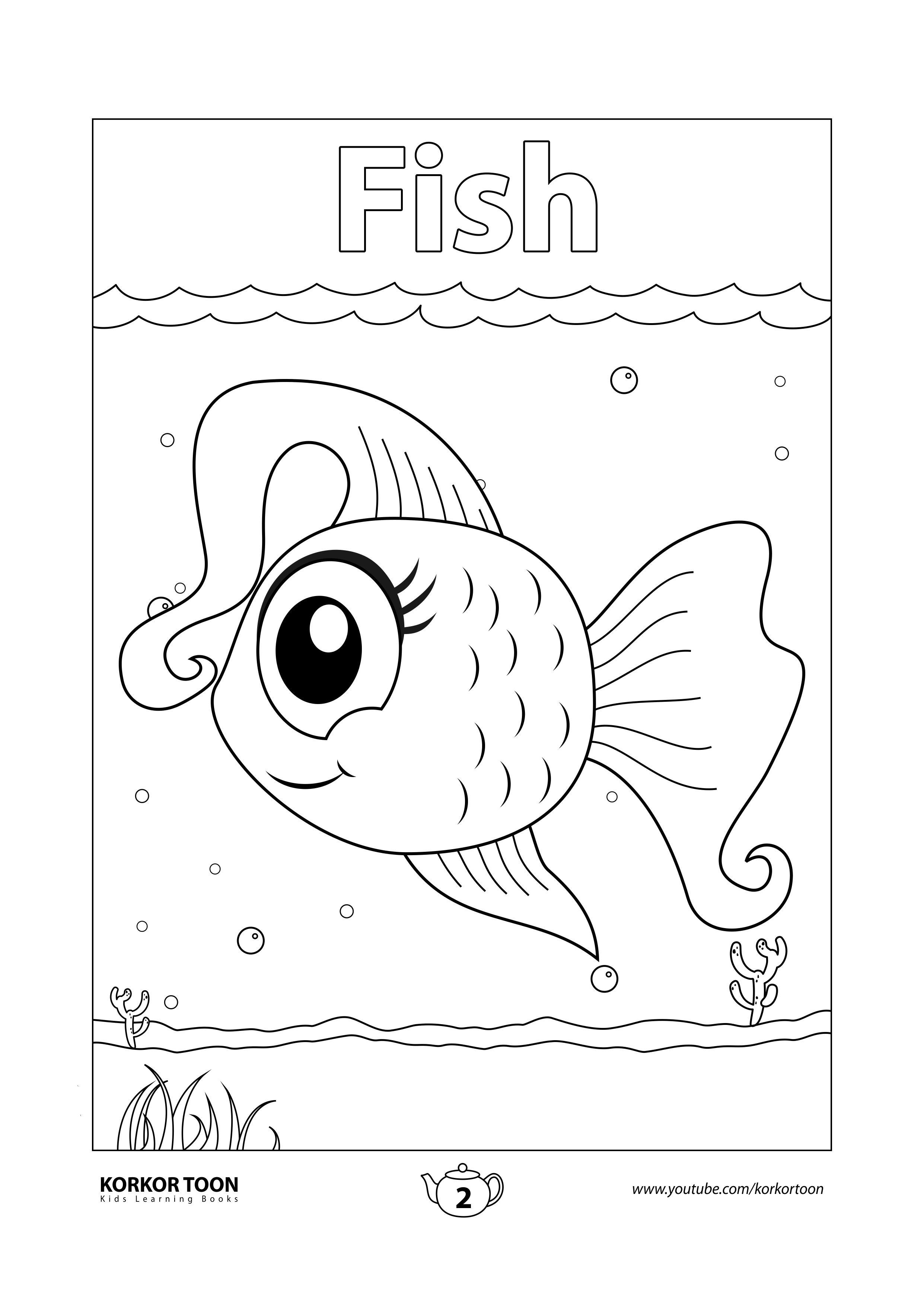 Fish Coloring Page Sea Animals Coloring Book For Kids Coloring Books Animal Coloring Books Fish Coloring Page