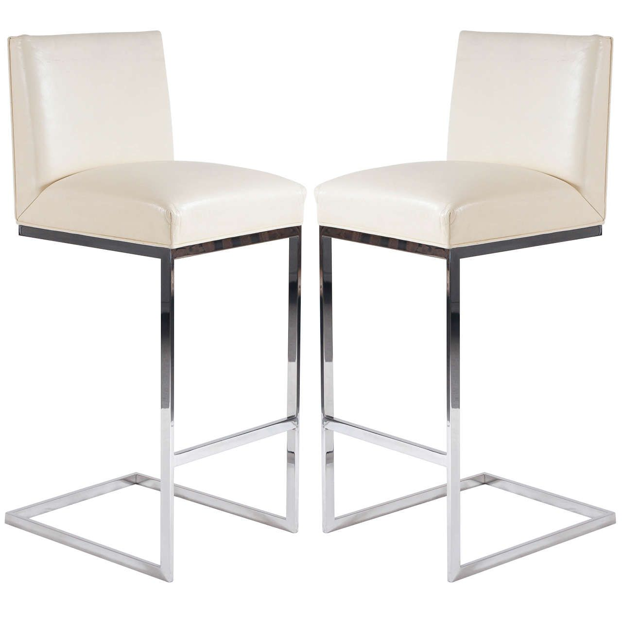 Brilliant Pair Of Bar Stools In Leather Polished Stainless Steel By Creativecarmelina Interior Chair Design Creativecarmelinacom