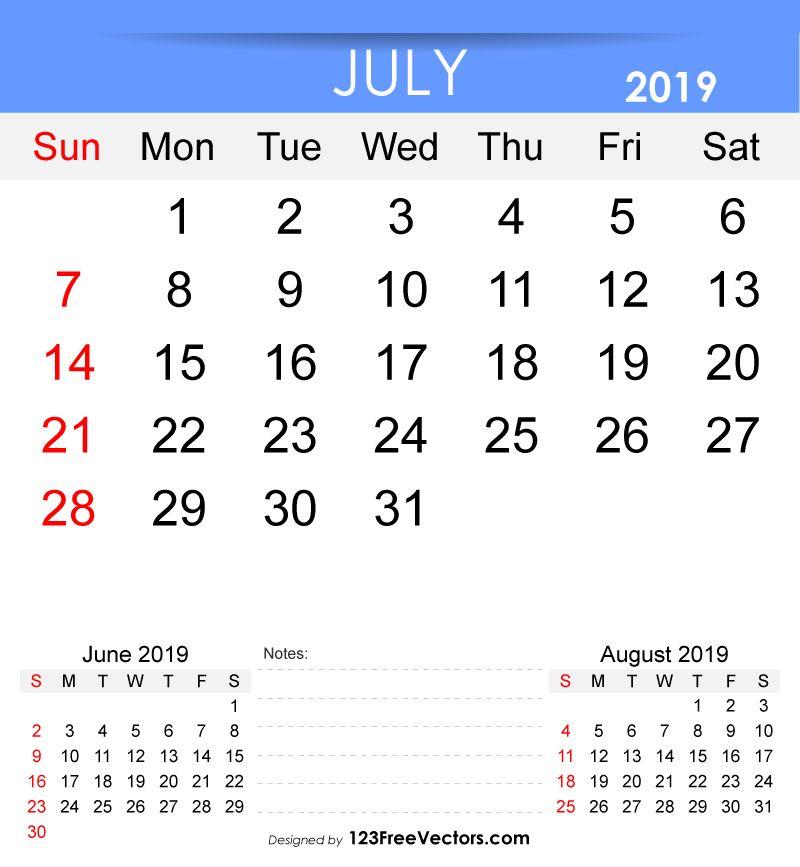 Free Printable July 2019 Calendar Free Vectors Pinterest