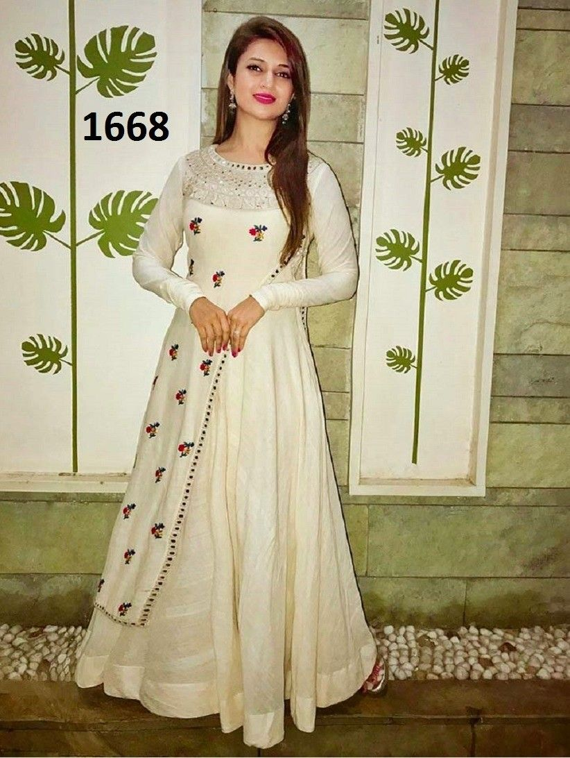 Divyanka Tripathi In White Gown,Raw silk gown,Embroidery Work Gown ...