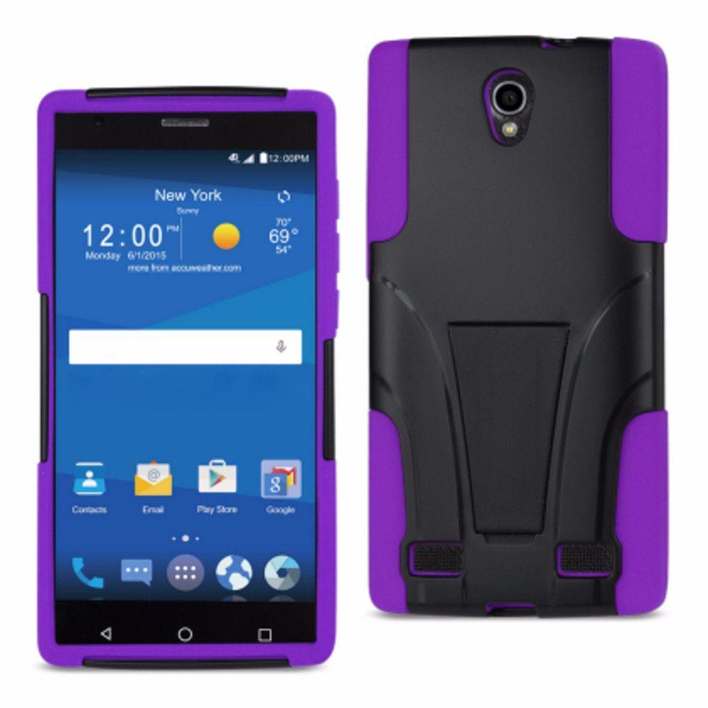 Reiko Silicon Case+Protector Cover Zte Zmax 2 Z958 Purple Black New Type Kickstand