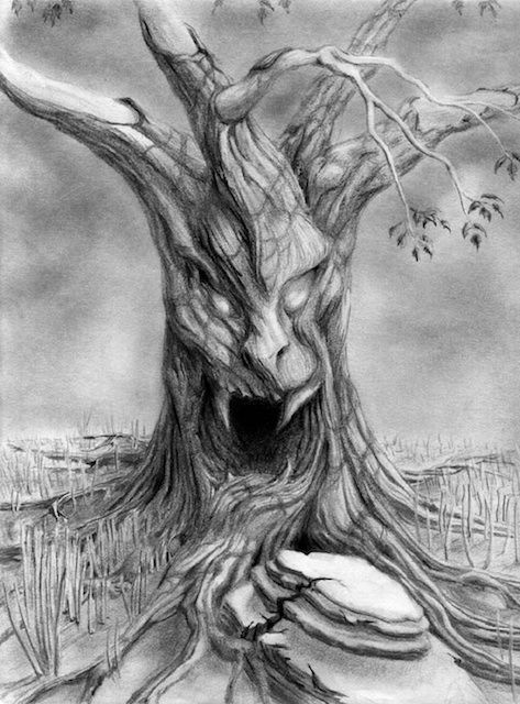 Big Scary Tree Tree Drawings Pencil Face Painting Halloween