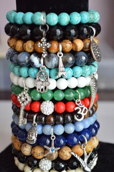 Beaded Bracelets Stacking Stretch Blue White Red Turquoise Black Green Brown Bird Ohm Hamsa Buddha Key Handmade Jewelry