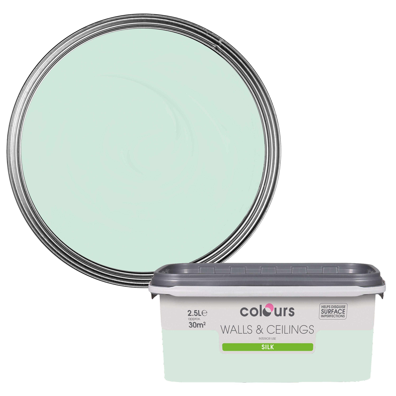 Colours Duck Egg Silk Emulsion Paint 2.5L Departments