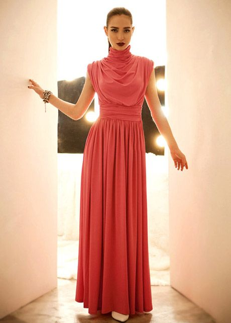 Elegant Sleeveless Turtleneck high Waist Red Maxi Dress